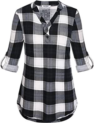 Anna Smith Womens Cuffed Sleeve V Neck Plaid Shirt Casual Pullover Tunic Blouses