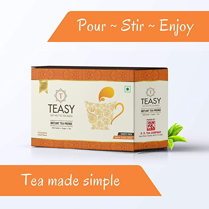 Teasy Instant Tea Premix - Tea + Easy - 12 Sachets (4 Masala | 4 Elaichi |  4 Ginger) - Just Add Hot Water - Variety Pack