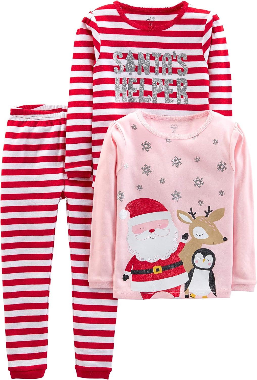2 Pair~Toddler Boy Just One You Fleece Footed Santa Reindeer Christmas Pajamas