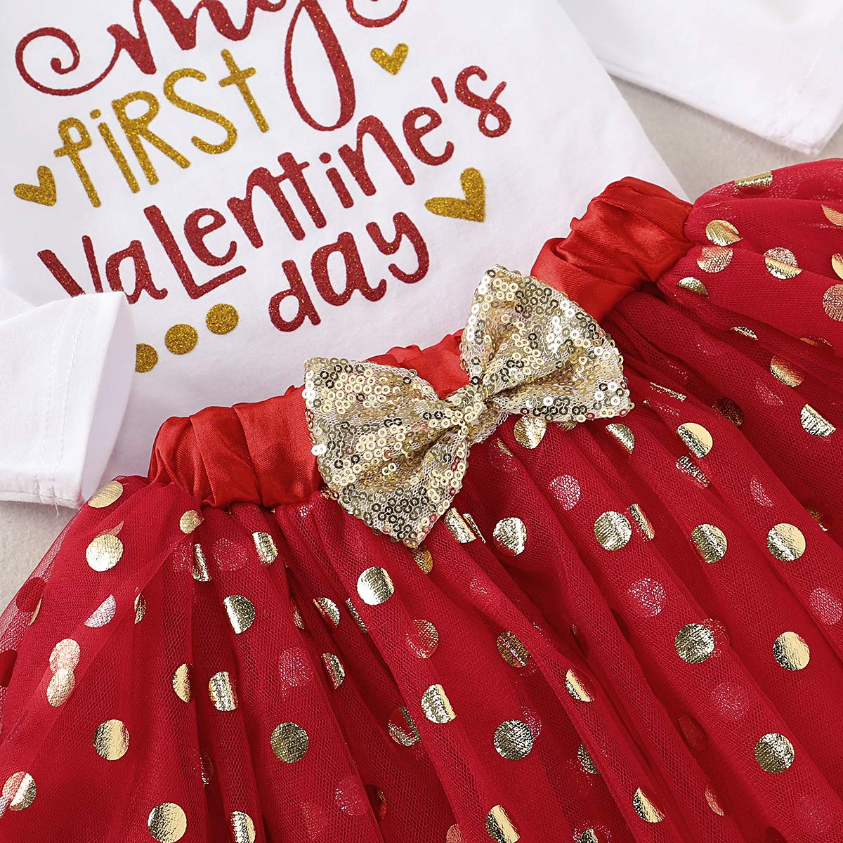 Newborn Baby Girl Clothes My First Valentines Day Outfits Romper Bows Headband 3pcs Infant Set Red Tutu Skirt Set