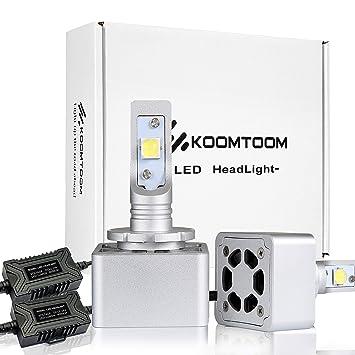 Kit de conversión de lentes de faros delanteros para bombillas LED. KOOMTOOM LED Kit D1S D3S. CREE XHP70 Chips, 72W 6500K 12 000 lm: Amazon.es: Coche y moto