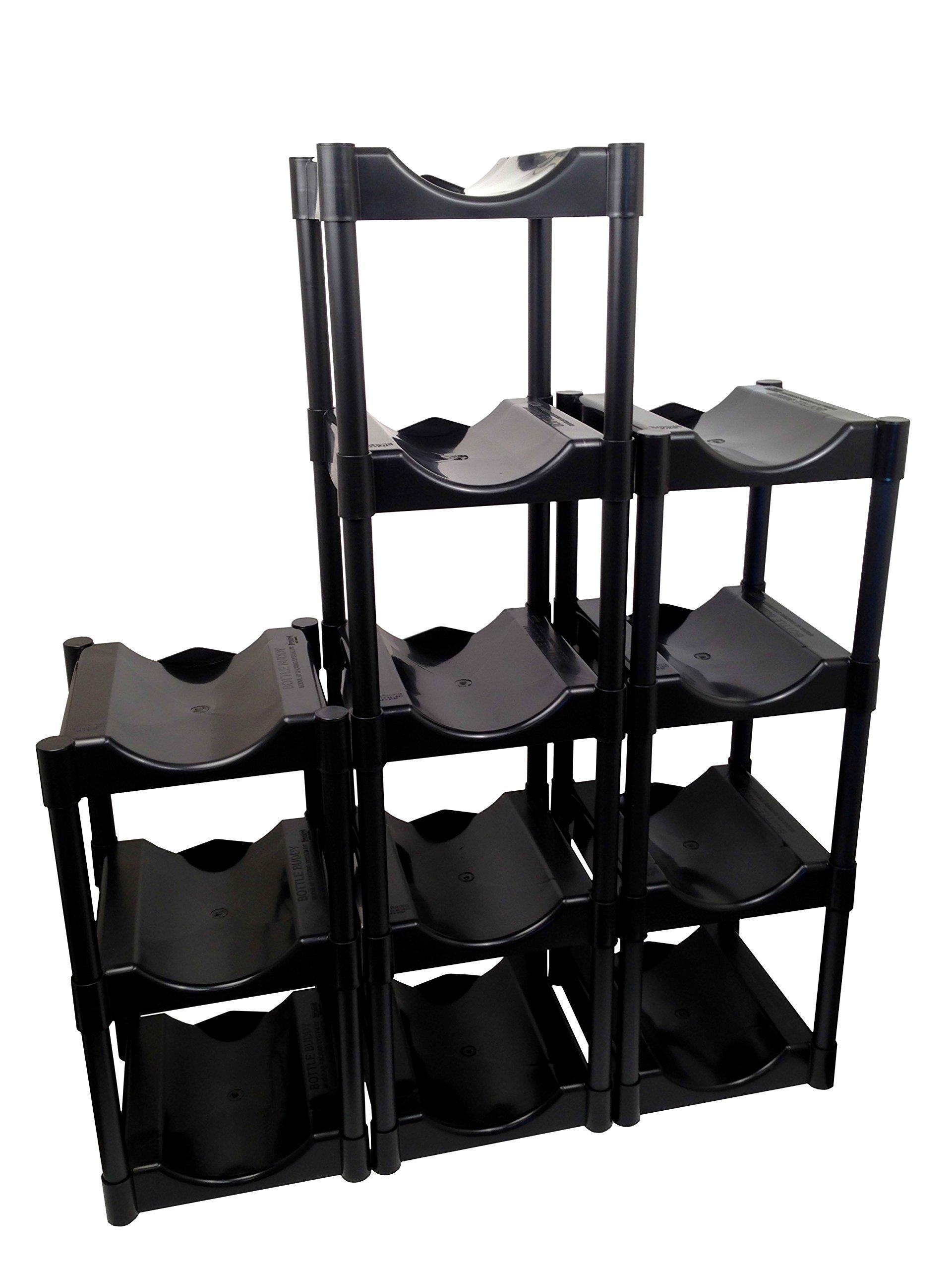 Bottle Buddy Storage System, Black, 12-Pack
