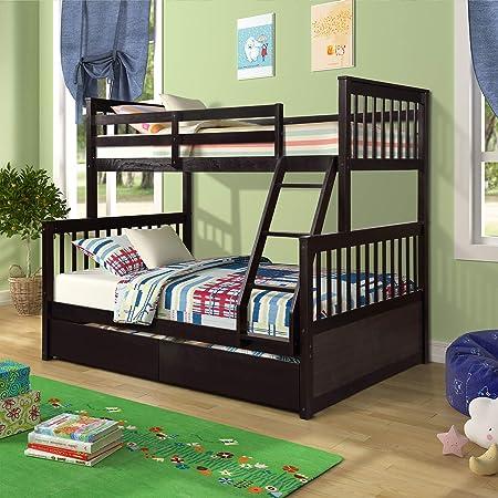 Literas de madera, litera doble sobre cama completa con 2 cajones de almacenamiento, marco de litera