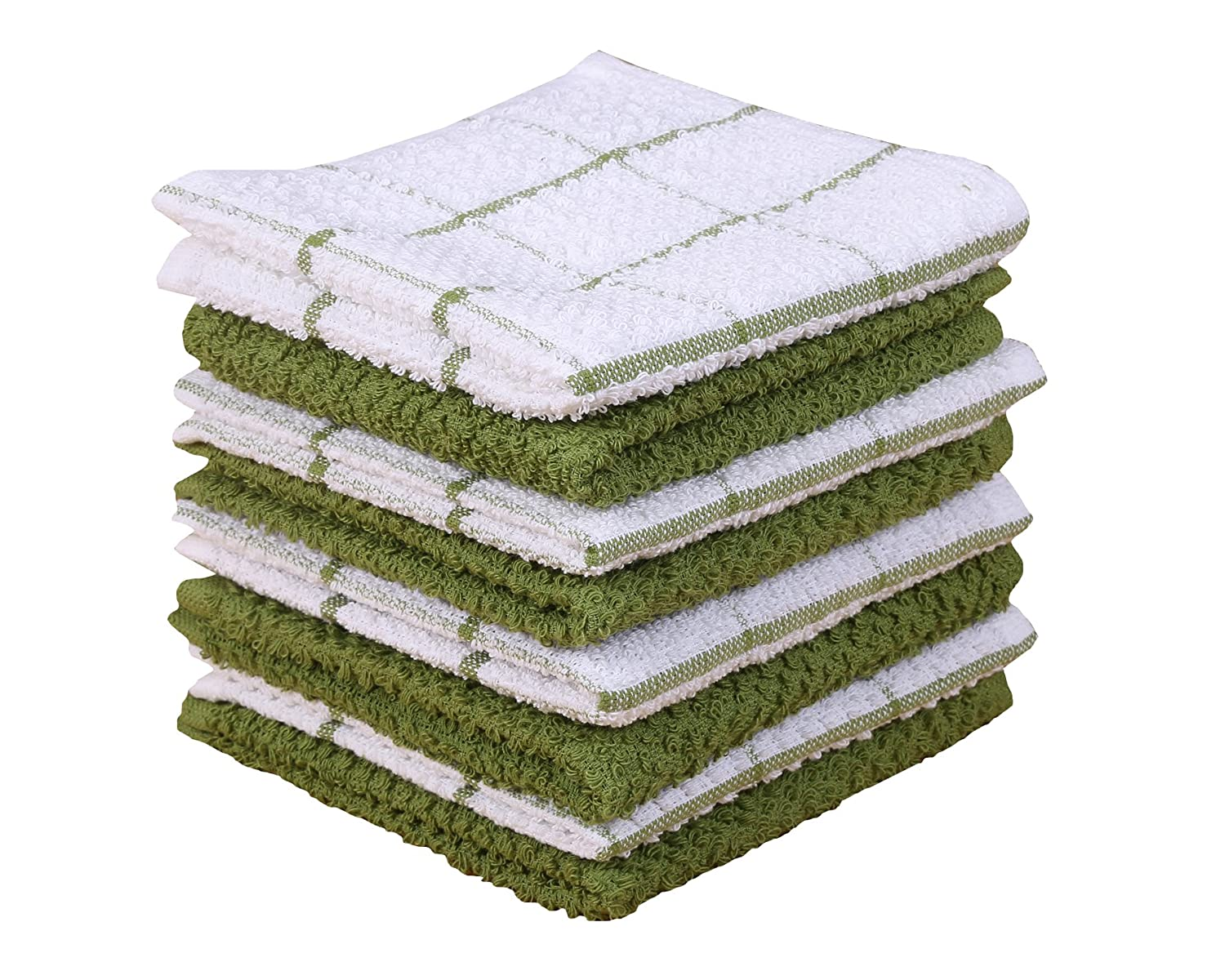 Terry Kitchen Dishcloth Set of 8 (12 x 12 Inches), Green, 100% Cotton, Highly Absorbent, Machine Washable By CASA DECORS