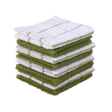 Terry Kitchen Dishcloth Set of 8 (1 2 x 12 Inches), Green, 100% Cotton, Highly Absorbent, Machine Washable By CASA DECORS