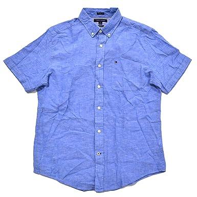 85d899f910a17 Tommy Hilfiger Mens Short Sleeve Cotton Linen Buttondown Shirt at Amazon  Men s Clothing store