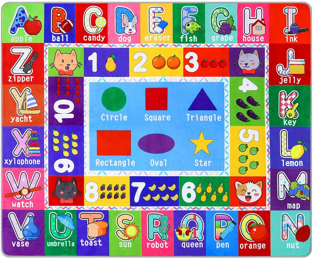 Partykindom Kids Play Rug Mat Playmat with Non-Slip Design Playtime Collection ABC, Numbers, Shapes and Animals Educational Area Rug for Children Kids Bedroom Playroom(53.5 x 43.5 inch)