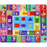 Partykindom Kids Play Rug Mat Playmat with Non-Slip Design Playtime Collection ABC, Numbers, Shapes and Animals Educational A