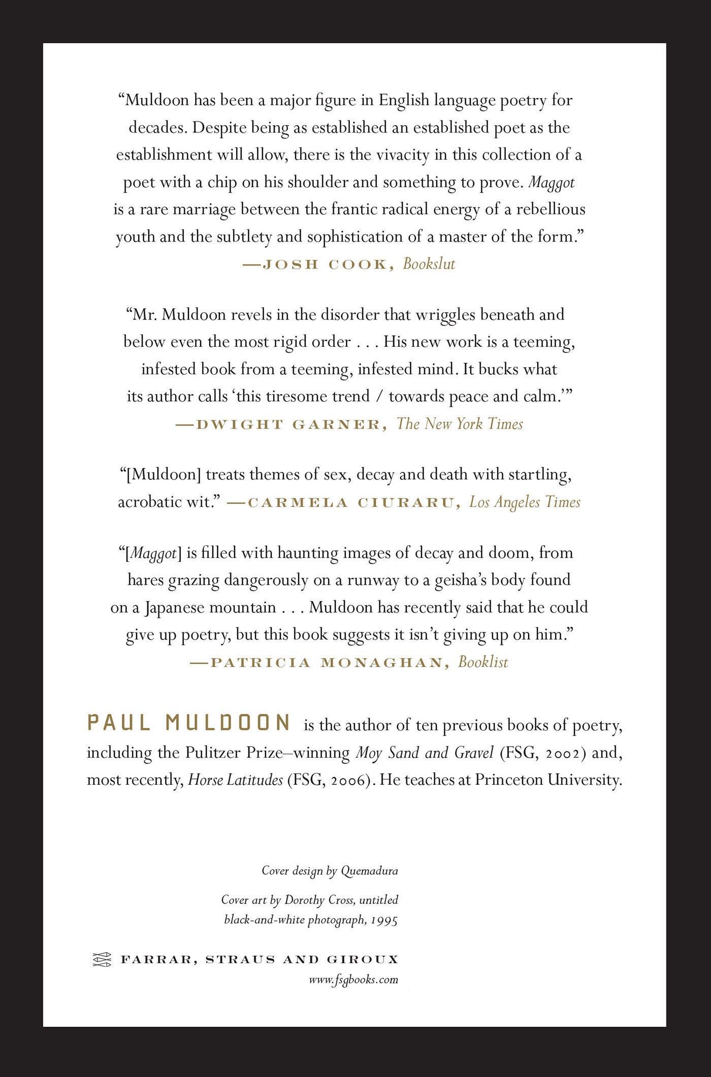 Maggot Poems Paul Muldoon 9780374533014 Amazoncom Books