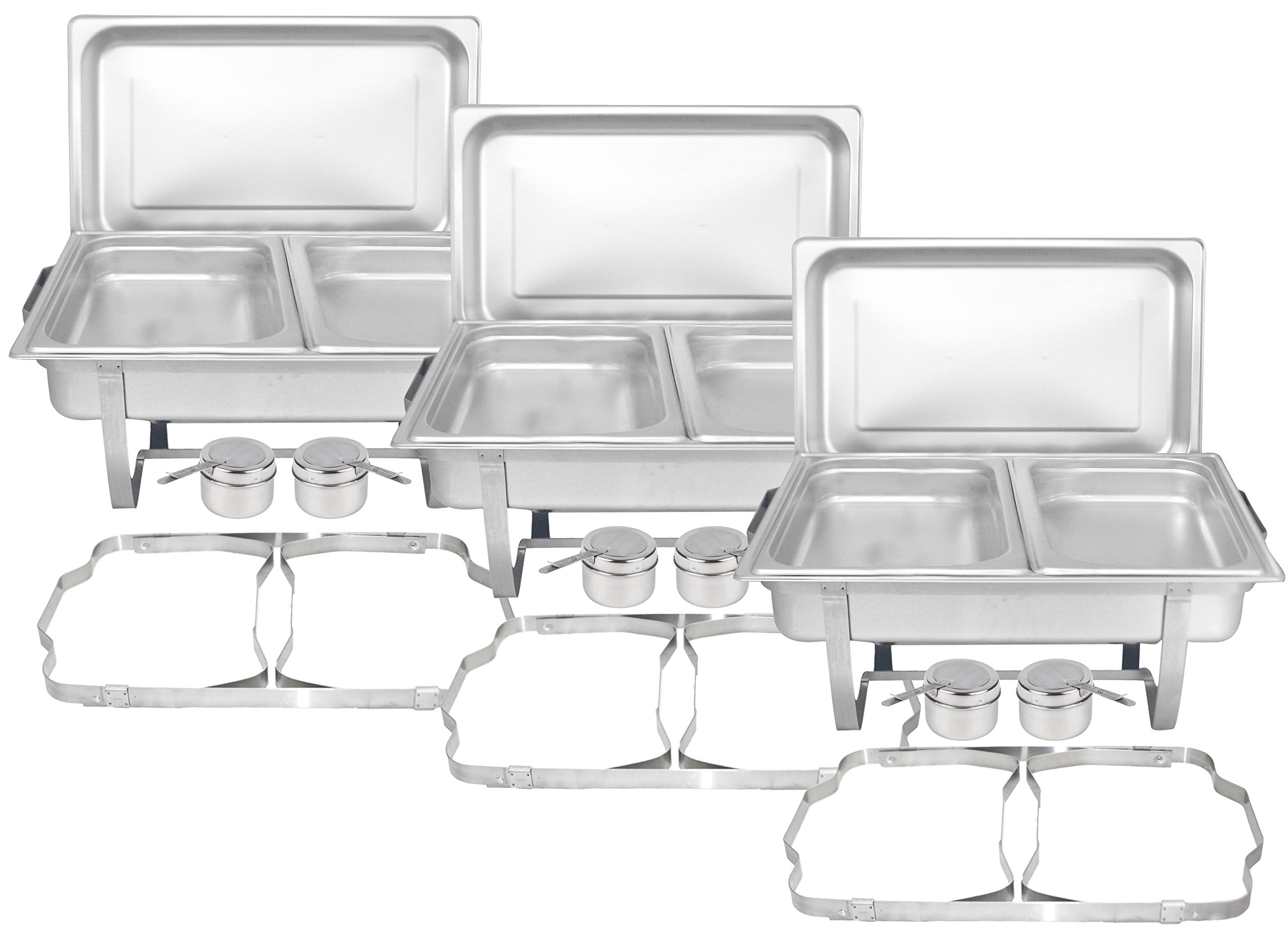 Tiger Chef 8 Quart Full Size Stainless Steel Chafer with Folding Frame and Cool-Touch Plastic on Top (3, Full Size with 1/2 Inserts) by Tiger Chef