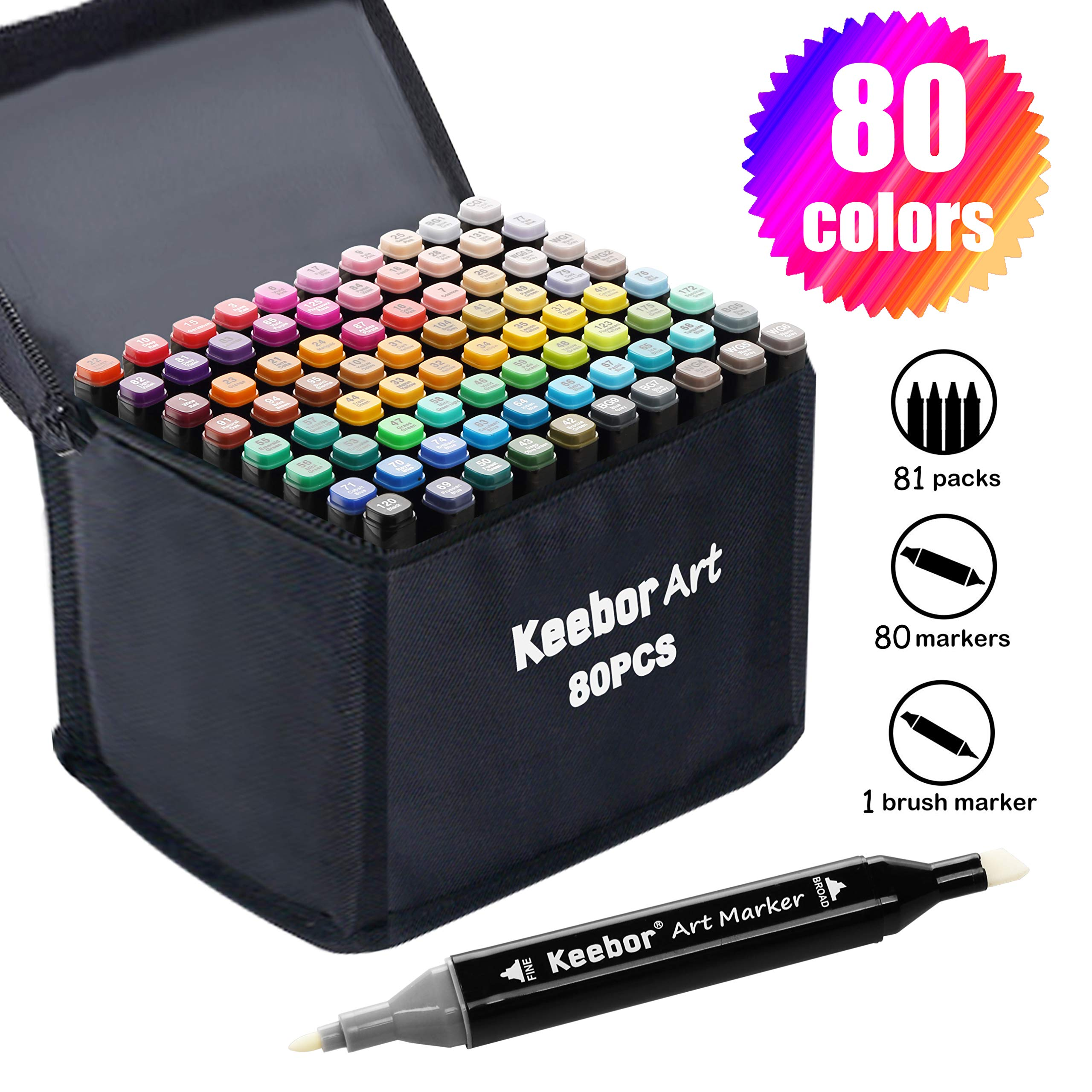 Keebor Advanced 80+1 Colors Dual Tip Alcohol-Based Art Markers, Plus 1 Blender Marker with Thick Packing