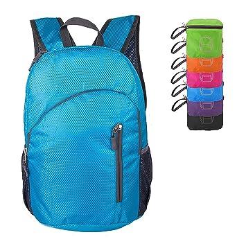 TOVTO Mochila ultraligera plegable de 20 litros para senderismo, camping, al aire libre, viaje, escuela, ciclismo, azul: Amazon.es: Deportes y aire libre