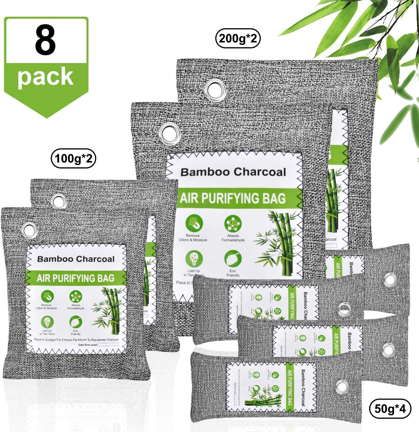 chappfier 8 Pack Activated Bamboo Charcoal Bags Odor Absorber, Nature Fresh Charcoal Air Purifying Bag Odor Eliminator, Shoe Odor Deodorizer Bag for Shoes, Gym Bag, Home, Pet, Closet