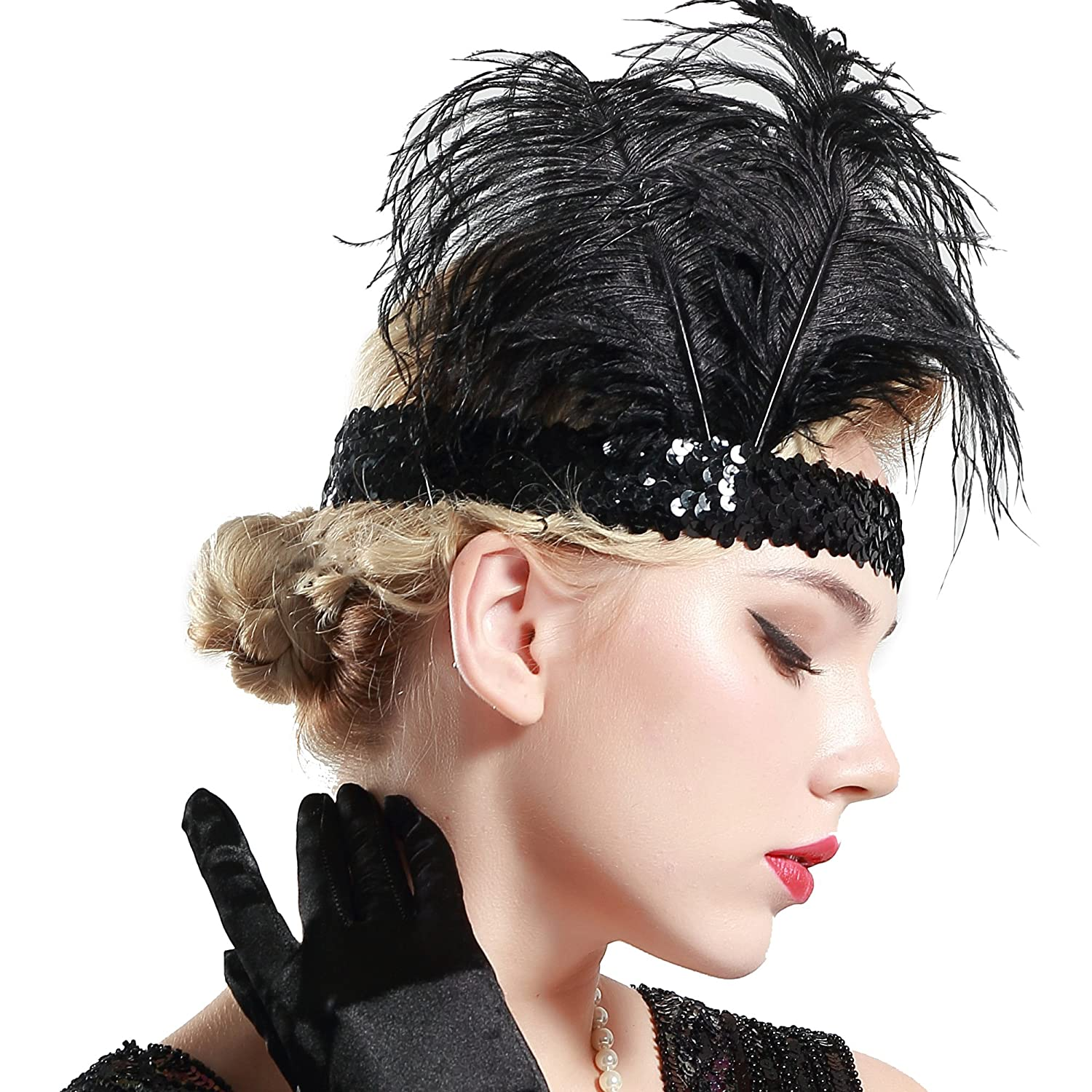 9291c4d2308 This 20s sequined gatsby headpiece is a big plus for your roaring 20 s  collection. Roaring 20s showgirl headband with feathers. Stunning vintage  1920s ...