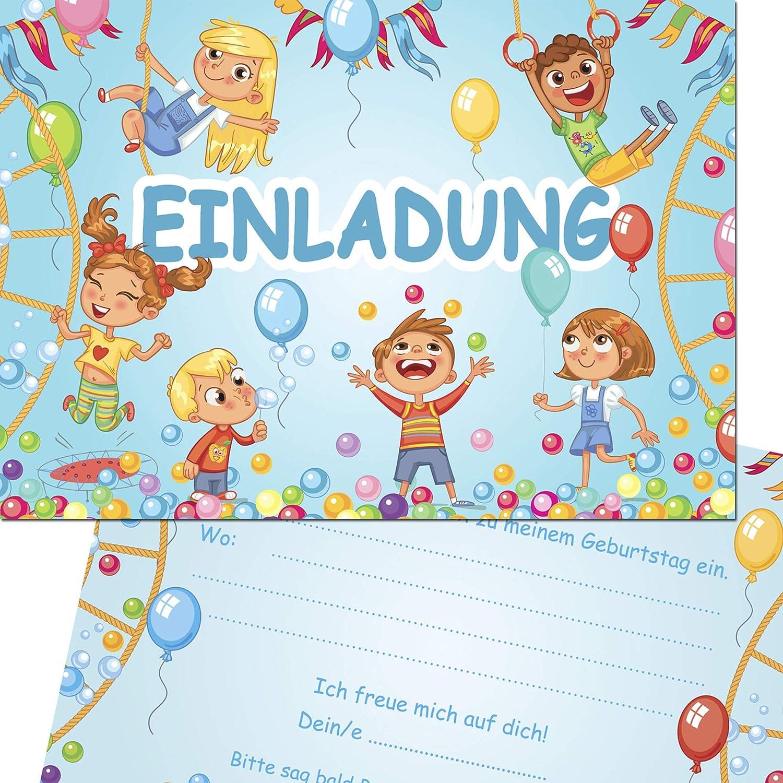 Kreatives Herz Indoor Spielplatz TOBEWELT H/ÜPFBURG Einladungskarten zum Kindergeburtstag 10 Karten 10er Set Einladungen A6 Kinder Party
