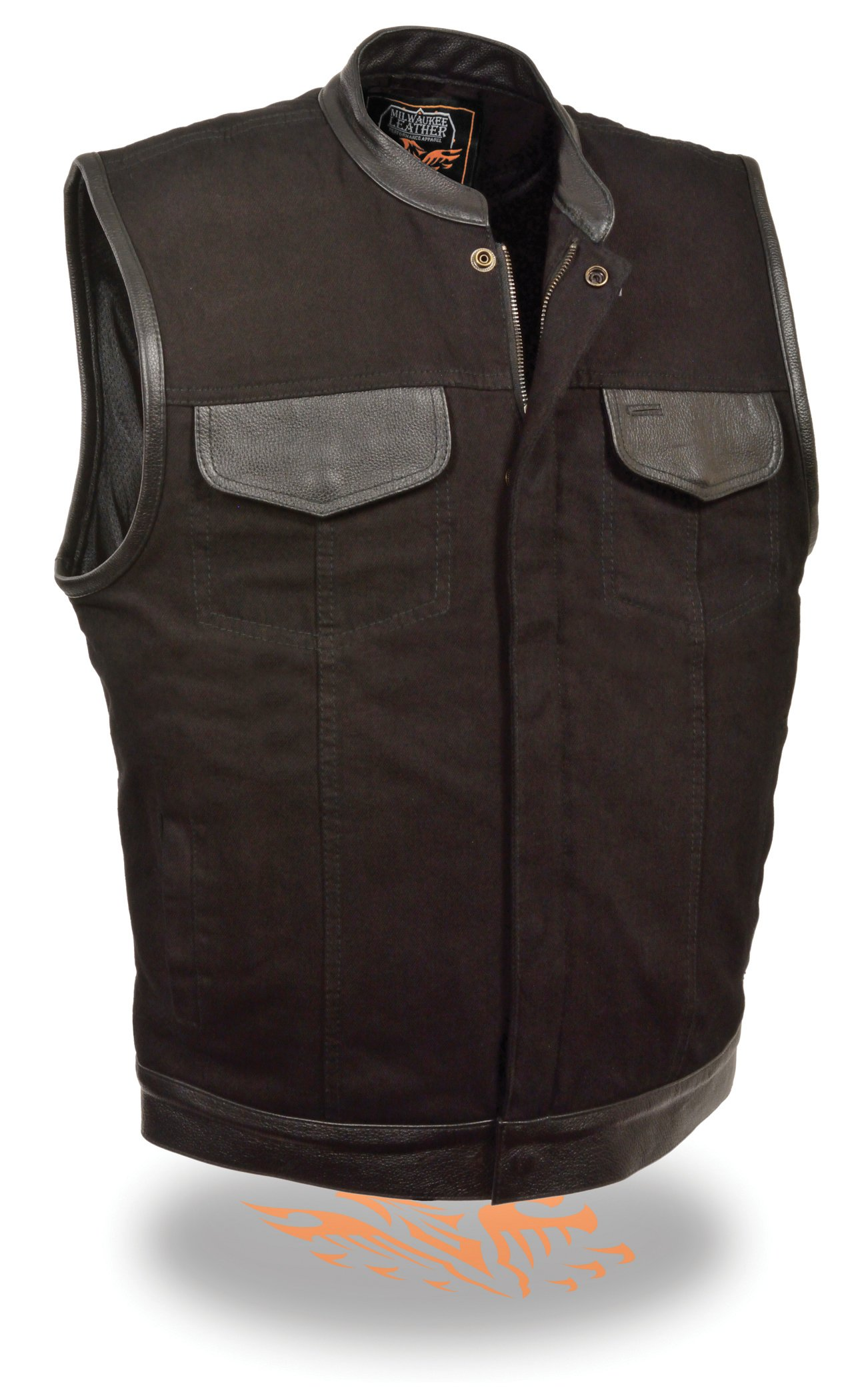 The Ultimate One Stop Shop for All Club Style Zipper Front Vests - All Varieties of Club Cut Vests Leather & Denim (4X - Big, Leather Trim)