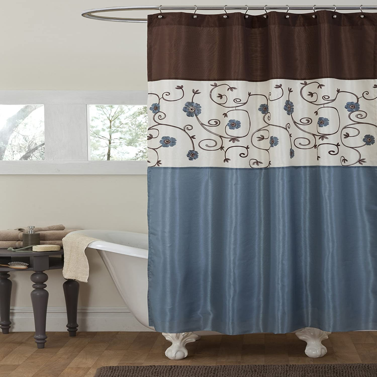Gray and blue shower curtain - Amazon Com Lush Decor Royal Garden Shower Curtain 72 X 72 Inches Blue Home Kitchen