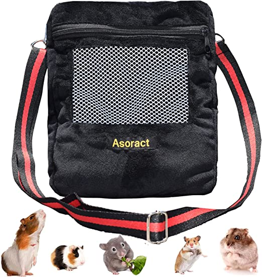 Asoract Hedgehog Carrier Pouch, Newly Designed Sugar Glider Bonding Pouch Super Soft Coral Fleece Portable Small Animal Travel Carrier with Adjustable Shoulder Strap Breathable Mesh for Sugar Gliders