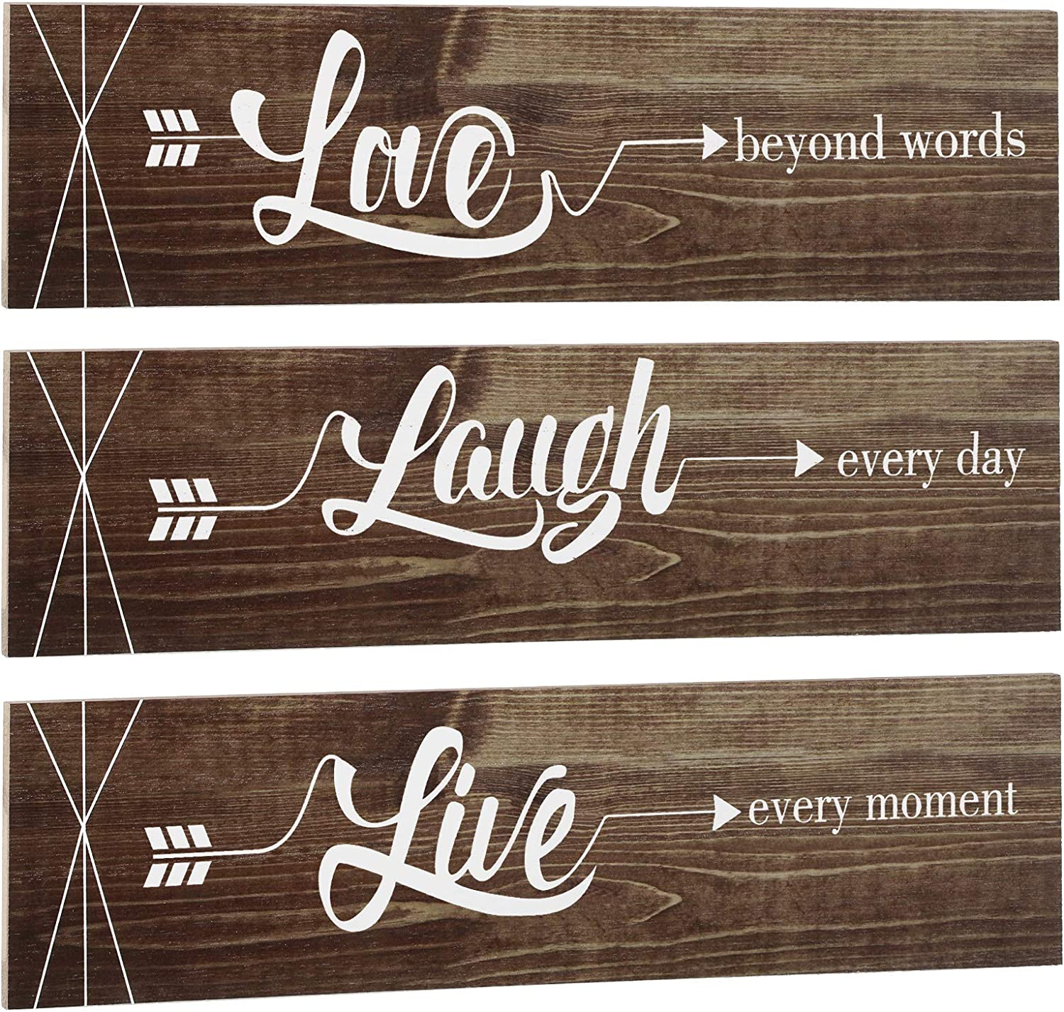 Jetec 3 Pieces Rustic Wood Arrow Sign Wall Decor Home Family Love Live Sign, Farmhouse Wall Mount Decoration for Home Office Wedding Kitchen and Living Room, 12 x 3 x 0.2 Inch (Brown)