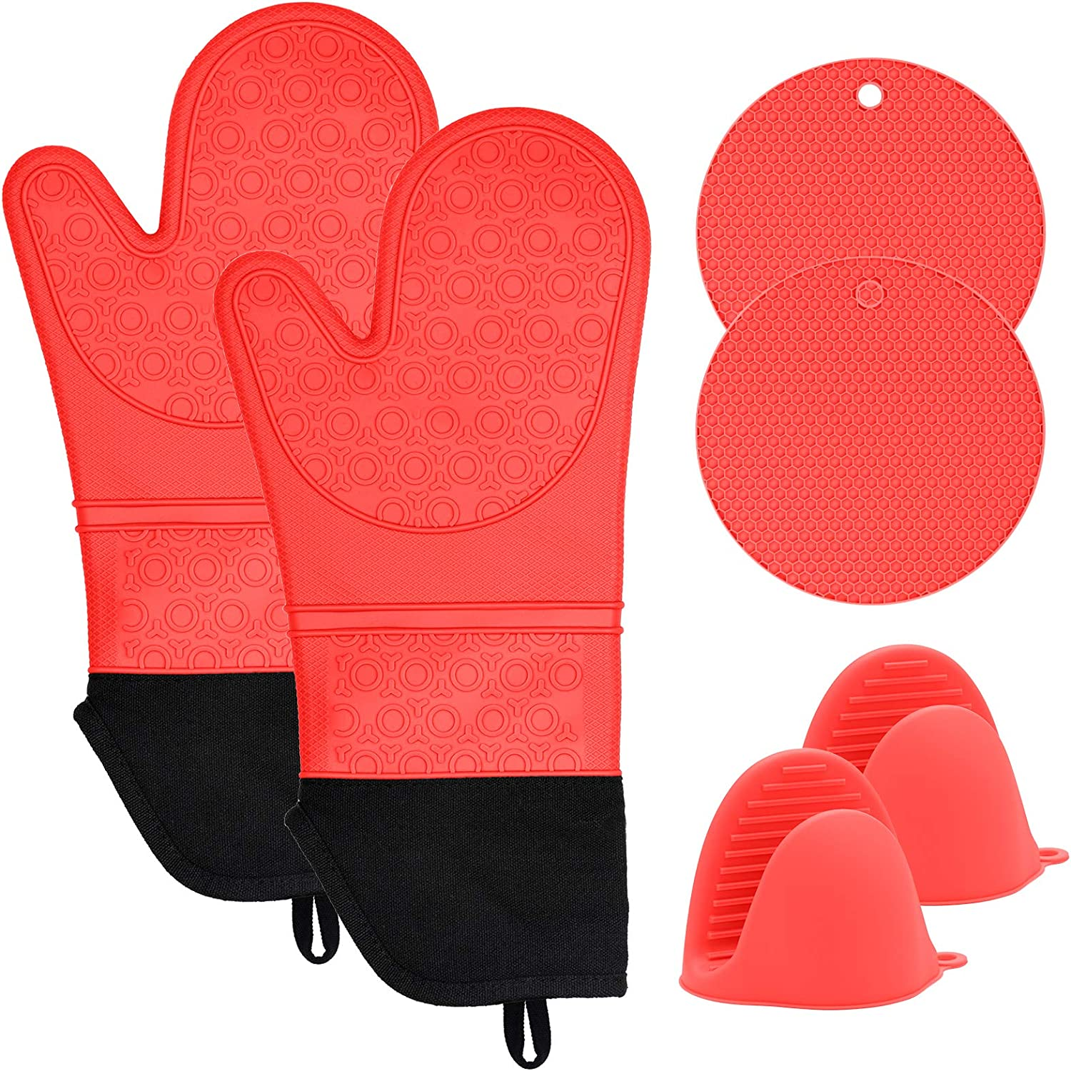 Silicone Oven Mitts and Pot Holders Set, 6 Piece Set with 2 Hot Pads, Heat Resistant to 450℉-Extra Long 15 Inch Professional Silicone Oven Mitts for Grilling Cooking Baking(Red)