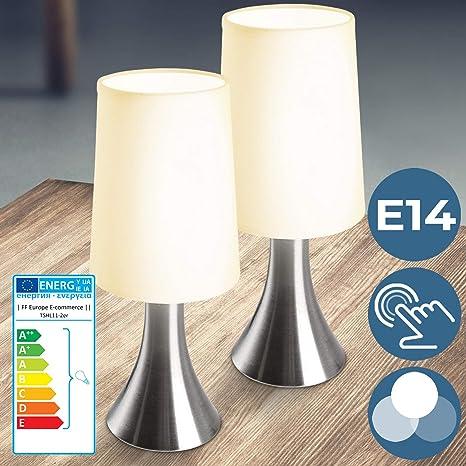 Tischleuchte E14 Glas Schlicht weiss Schalter Dimmer