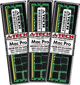 A-Tech 48GB Kit (3x16GB) ECC RDIMM Memory for Mac Pro Mid 2010 & Mid 2012 (MacPro5,1) | DDR3 1333MHz ECC Registered DIMM PC3-10600 Dual Rank 2Rx4 1.5V 240 Pin RAM Upgrade