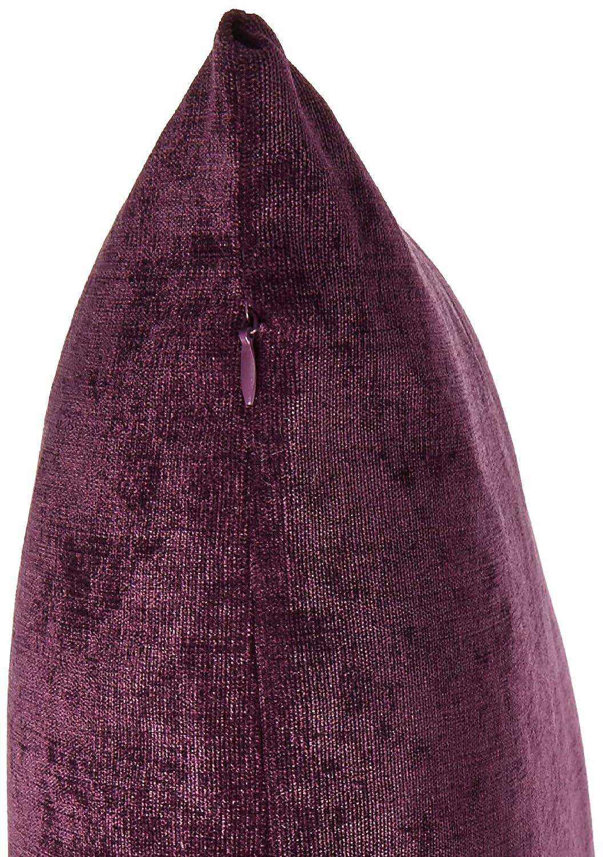 Deconovo Corduroy Case Pillow Invisible Zipper Dark Purple Set of 4 Throw Cushion Cover CS24223-4 18x18-inch