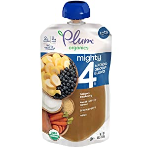 Plum Organics Tots Mighty 4 Toddler Food, Sweet Potato, Carrot, Blueberry, Apple, Greek Yogurt, Millet and Oat, 4 Ounce (Pack of 6)