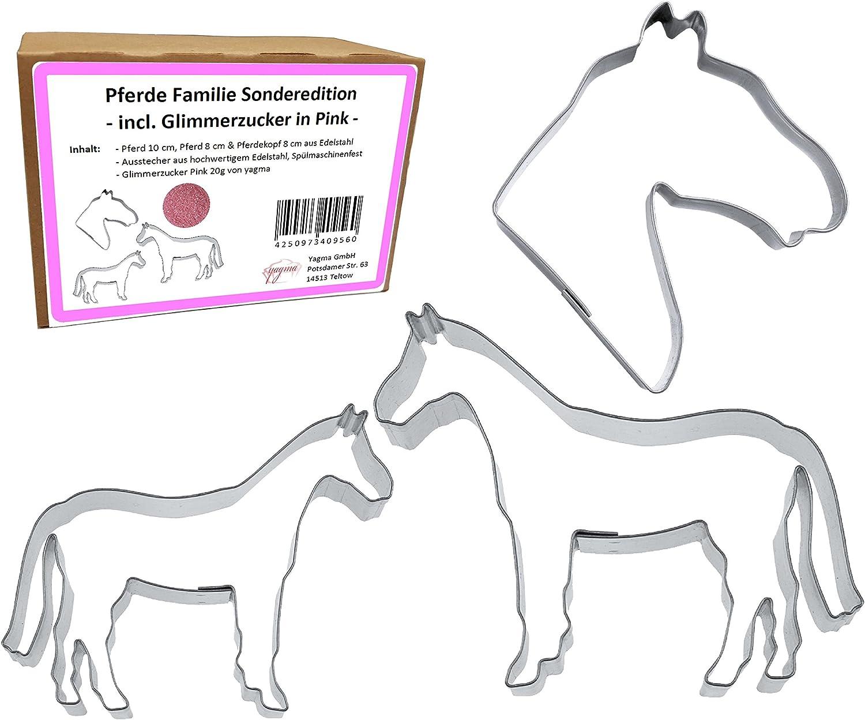 Juego de moldes para caballos Familia (caballo 10cm & 8cm, cabeza de caballo 8cm)–Fácil & acabado