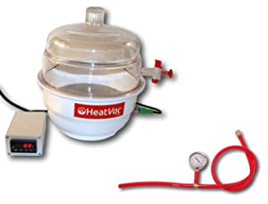 HeatVacXL - Heated Vacuum Chamber - Best Digital Temp Accuracy - Extract Degas Solvent Concentrate Purge Oil Pen Blanks