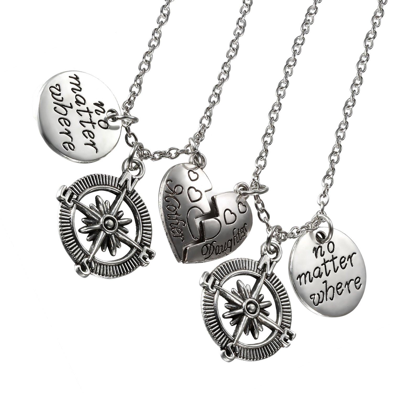 'cupimatch 2pcs madre figlia Collana Set, classico acciaio inossidabile Bussola a forma di cuore con incisione