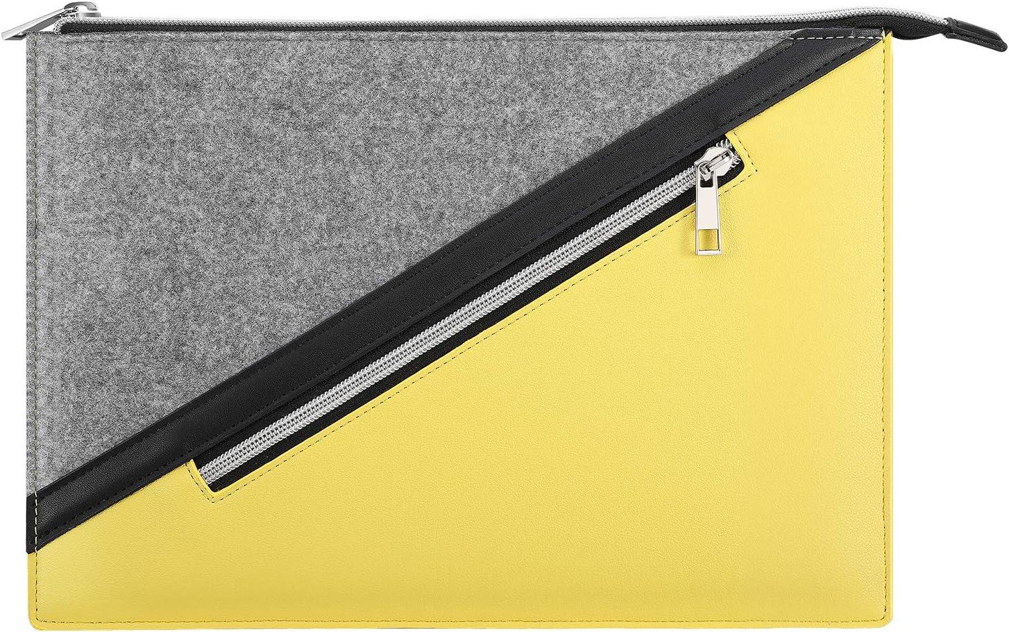 "MoKo 13.3 Inch Laptop Sleeve, Laptop Briefcase Bag Zipper Pouch with Pocket Fits MacBook Pro 13"" 2012-2015, MacBook Air 13"" 2012-2017, iPad Pro 12.9"" 2018/2020, Google Pixel Slate 12.3"" 2018 - Yellow"