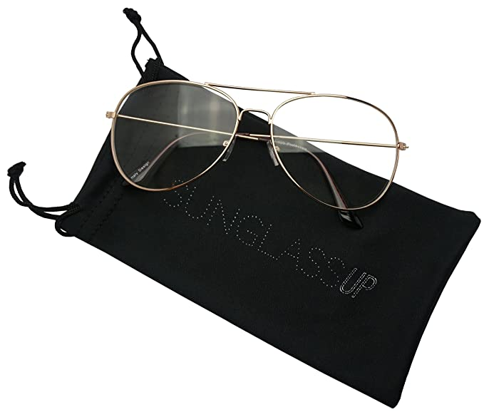 4a029b32a1 Large 60mm Metal Rose Gold Frame Clear Lens Non-Prescription Aviator Sun  Glasses (Rose