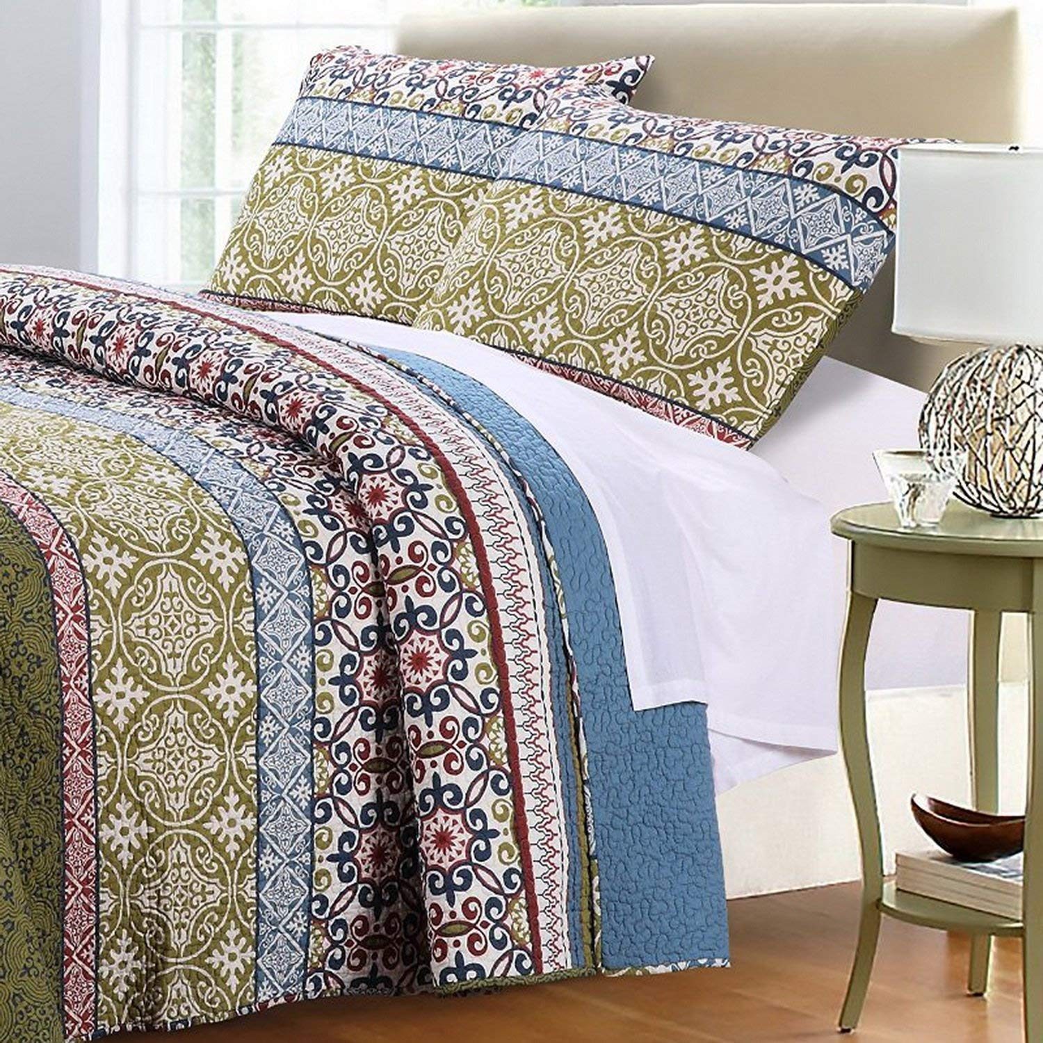 Boho Bohemian Quilt Set With Shams Geometric Pattern Vintage Story Cushion Shabby Patchwork 60x60cm 2 Mandala Blue Green 100 Cotton Luxury Reversible 3 Piece Print King Size Bedding Includes