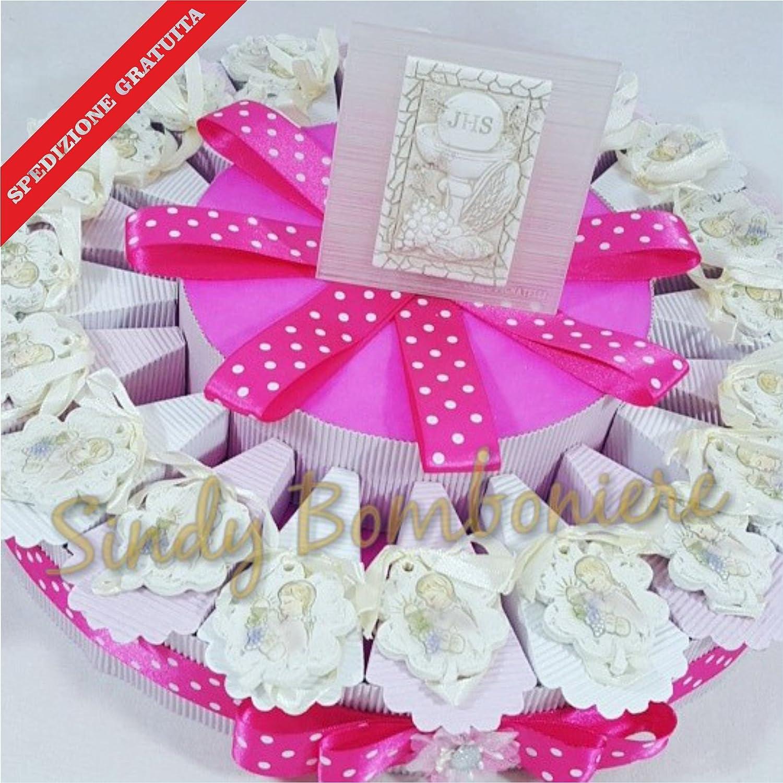 BOMBONIERE Comunione Torta Porta Confetti con Foglia Pendente per Bambina spedizione Inclusa (Torta da 35 fette)