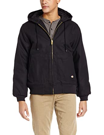 Dickies Mens Rigid Duck Hooded Jacket, Black, Medium