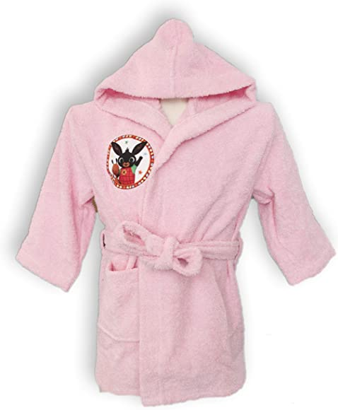 Albornoz con capucha original Bing Bunny años 2 3 4 5 100% rizo puro algodón niño niña (rosa años 4/5): Amazon.es: Ropa y accesorios