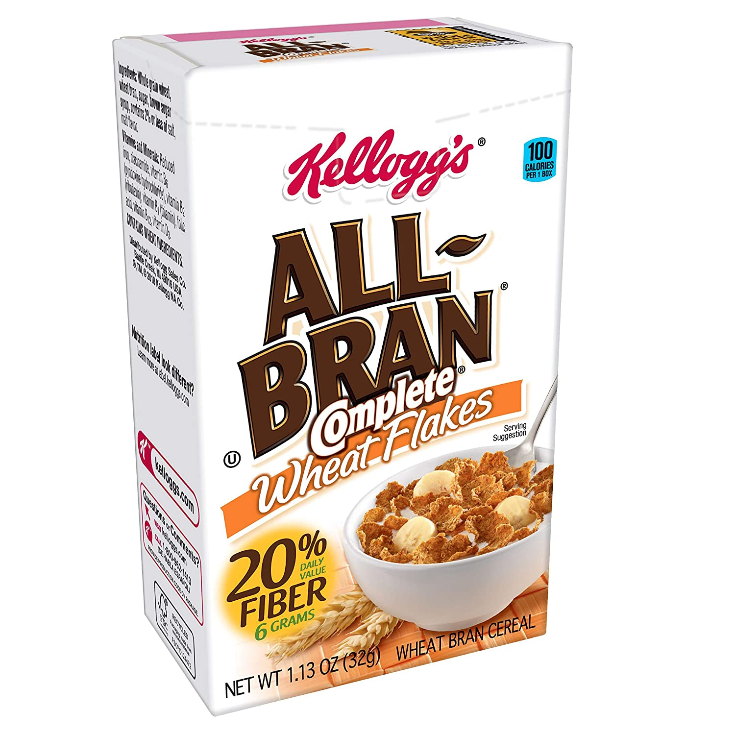 Kellogg's All-Bran Complete Wheat Flakes, Breakfast Cereal, Excellent Source of Fiber, Single Serve, 1.13 oz Box(Pack of 70)