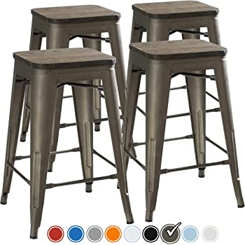 UrbanMod 24 Inch Bar Stools For Kitchen Counter Height, Indoor Outdoor  Metal,Rustic Gunmetal
