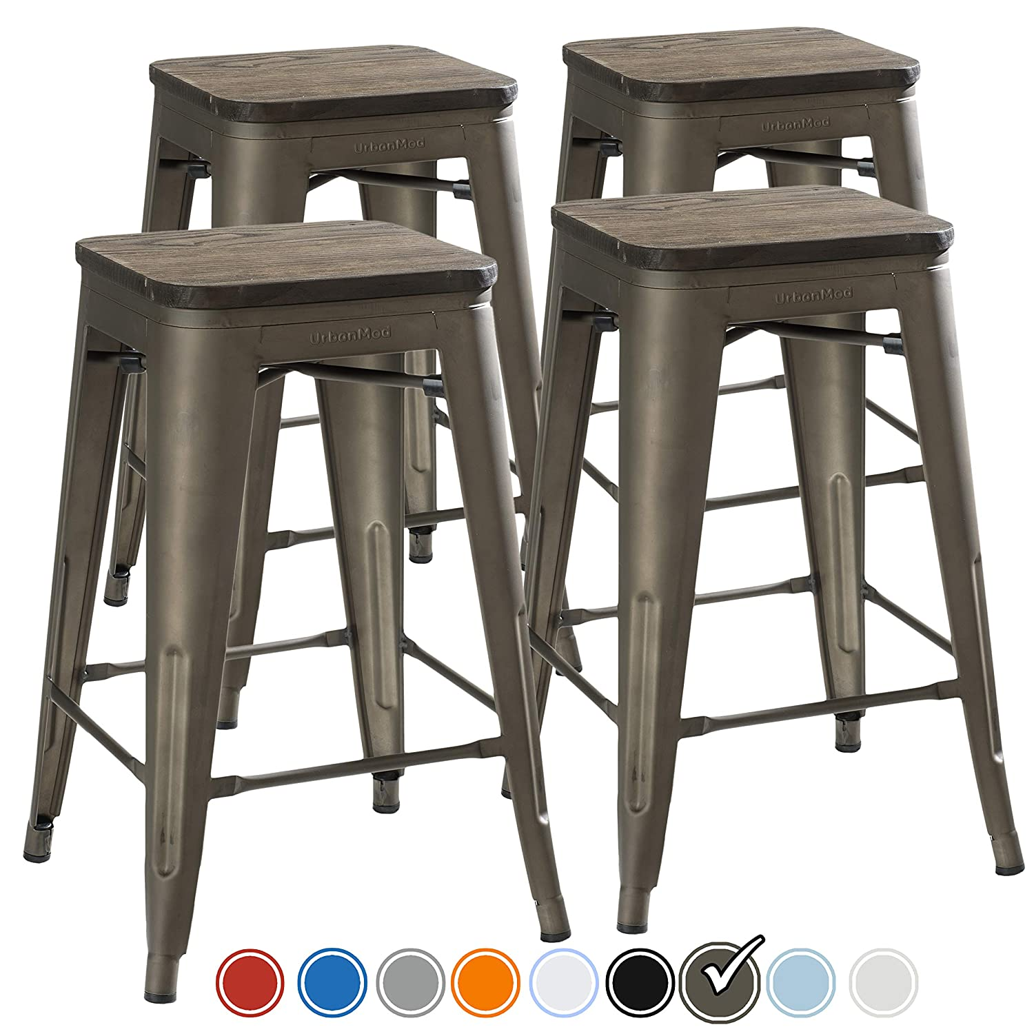 Groovy Urbanmod 24 Inch Bar Stools For Kitchen Counter Height Indoor Outdoor Metal Rustic Gunmetal Wooden Seat Pdpeps Interior Chair Design Pdpepsorg