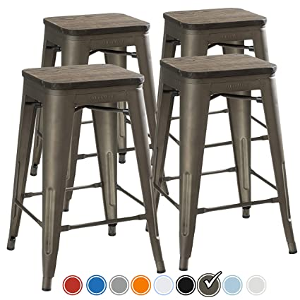 UrbanMod 24 Inch Bar Stools for Kitchen Counter Height, Indoor Outdoor  Metal,Rustic Gunmetal, Wooden Seat