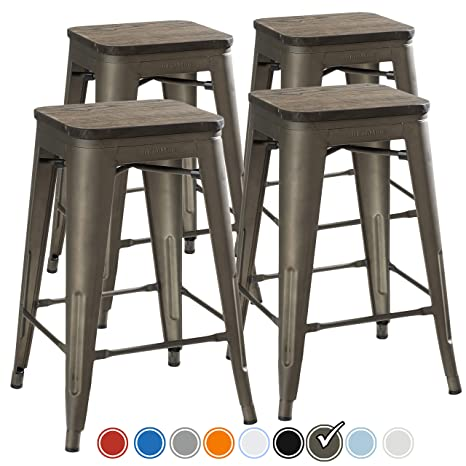 Swell Urbanmod 24 Inch Bar Stools For Kitchen Counter Height Indoor Outdoor Metal Rustic Gunmetal Wooden Seat Machost Co Dining Chair Design Ideas Machostcouk