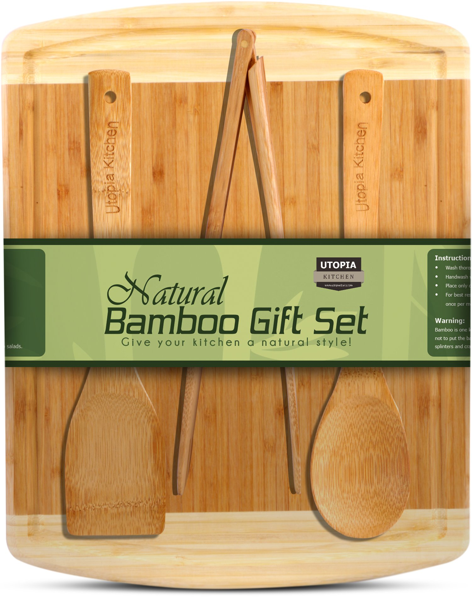 Utopia Kitchen Natural Bamboo Gift Set with 3-Piece Wooden Utensils and a 14.5'' x 11.5'' Bamboo Cutting Board