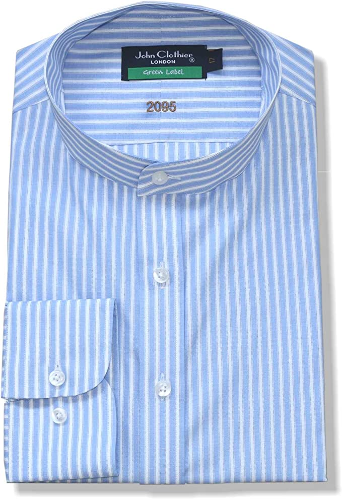 1920s Men's Dress Shirts, Casual Shirts Grandad Nehru Collar Mens Sky Blue White Stripes Shirt Band Mandarin Collar for Gents 200-06 $59.99 AT vintagedancer.com