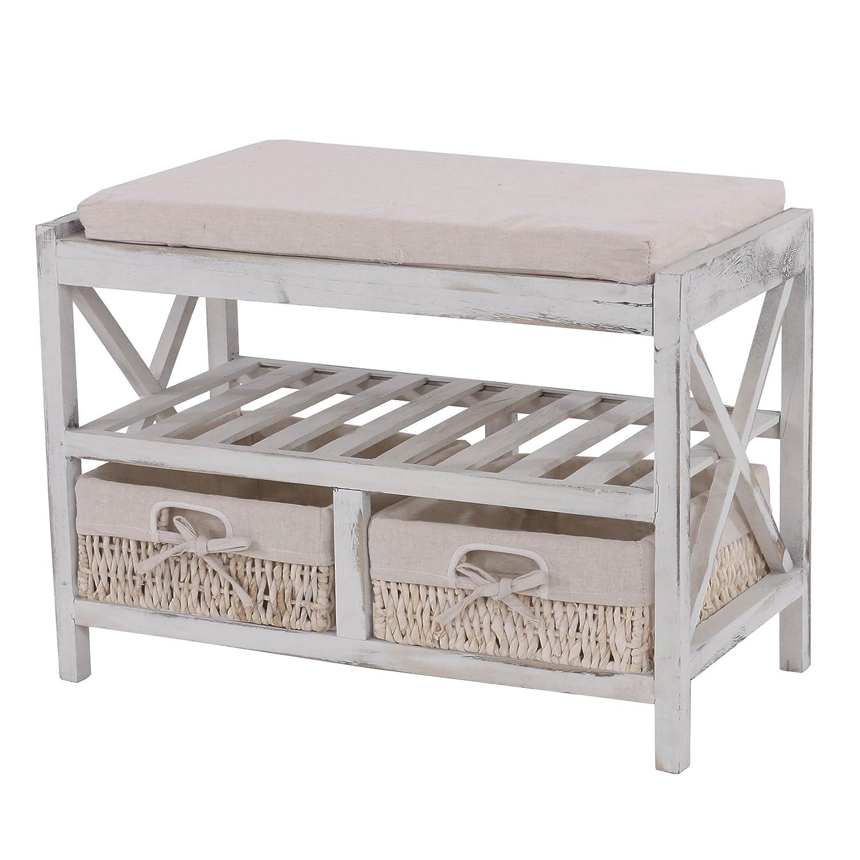 EtagÈre - range-chaussures - banc - 45x65x34cm - shabby chic - vintage ~ blanc