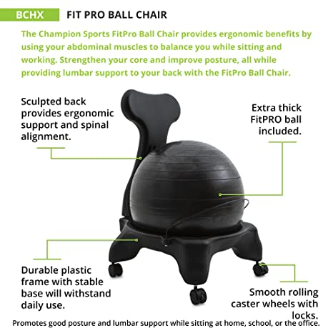 Marvelous Champion Sports Exercise Ball Chair Fitpro Balance Ball Chair With Wheels And Back Support For Home Or Office Use Includes Hand Pump Black Home Interior And Landscaping Ponolsignezvosmurscom