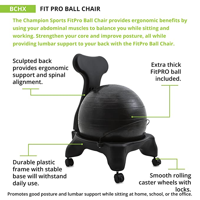Pleasing Champion Sports Exercise Ball Chair Fitpro Balance Ball Chair With Wheels And Back Support For Home Or Office Use Includes Hand Pump Black Home Interior And Landscaping Ponolsignezvosmurscom
