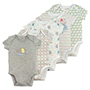 Baby Boy or Baby Girl Bodysuit Set, 5-Pack Short Sleeve Bodysuits, 3 Month