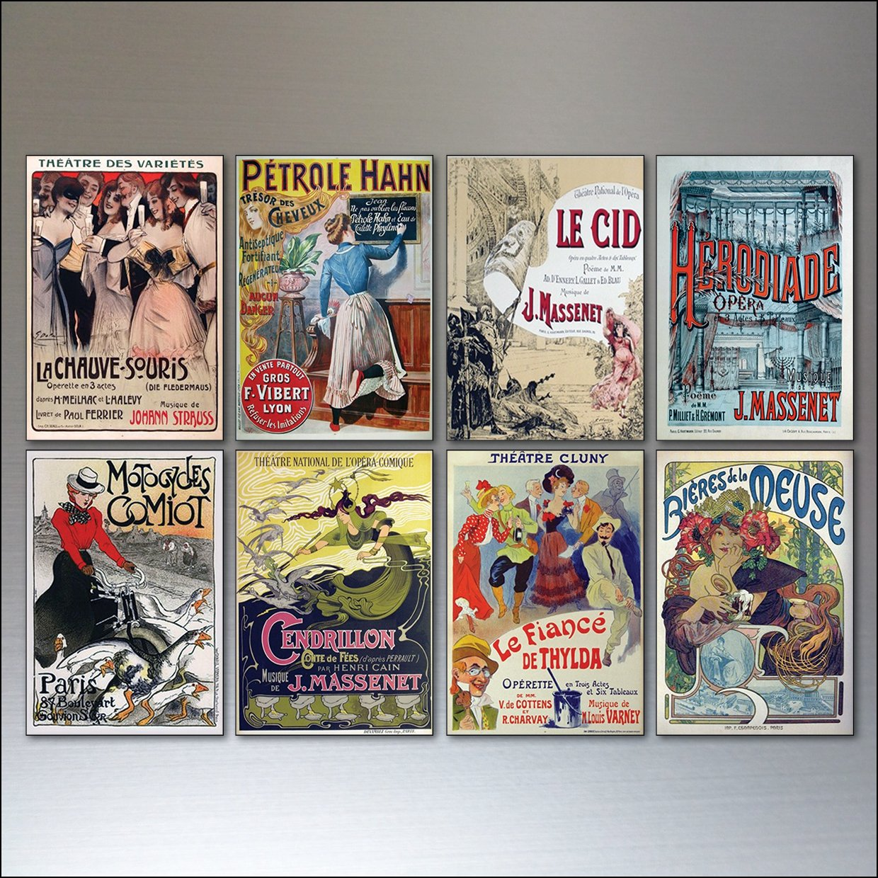 8 Vintage French Advertising Poster Fridge Magnets - Shabby, Chic, bohemian