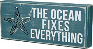 Primitives by Kathy 21024 Distressed Beach-Inspired Box Sign, 12 x 5-Inches, The Ocean Fixes Everything